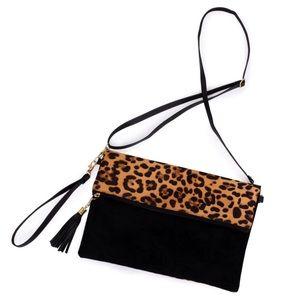 Leopard print fold-over crossbody/clutch bag